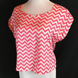 Ali Kris Pink White Chevron Stripe Top Medium